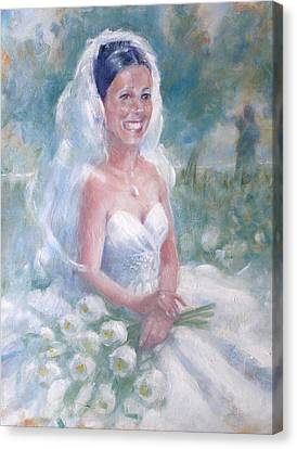 Canvas Print featuring the painting Portrait Of A Bride by Gertrude Palmer