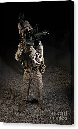 Portrait Of A U.s. Marine In Northern Canvas Print by Terry Moore