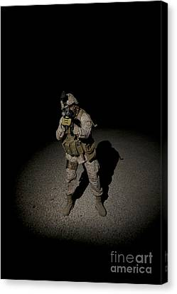 Portrait Of A U.s. Marine Canvas Print by Terry Moore