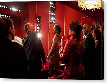 Michelle Obama Canvas Print - President And Michelle Obama Attend by Everett