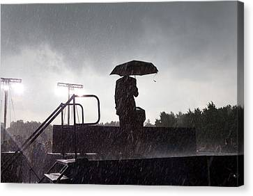 President Barack Obama In The Rain Canvas Print by Everett