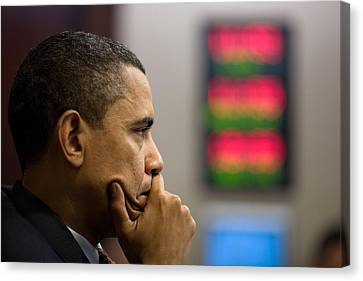 President Barack Obama Listens Canvas Print by Everett