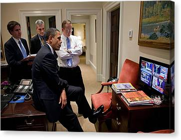 President Barack Obama Watches Canvas Print by Everett