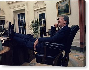 President Jimmy Carter Sitting Canvas Print by Everett