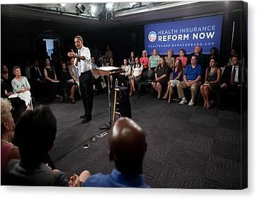 President Obama Promotes Health Care Canvas Print