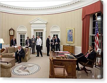 President Obama Talks On The Phone Canvas Print by Everett