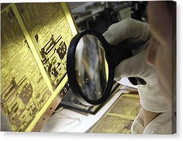 Printed Circuit Board Production Canvas Print by Ria Novosti