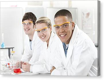 Pupils In A Science Lesson Canvas Print by