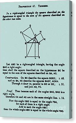 Pythagorean Theorem In English Canvas Print by Science Source