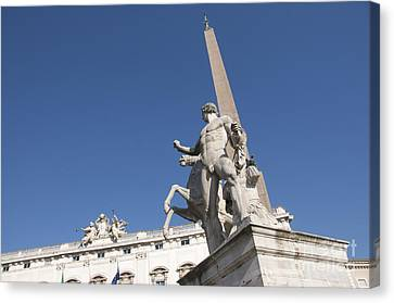 Quirinal Obelisk In Front Of Palazzo Del Quirinale. Rome Canvas Print by Bernard Jaubert
