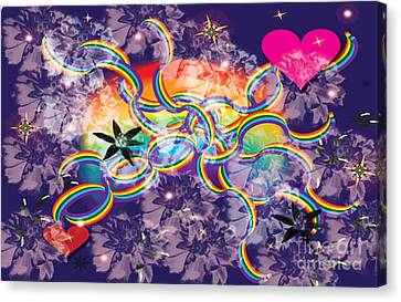 Canvas Print featuring the digital art Rainbow Space by Kim Prowse