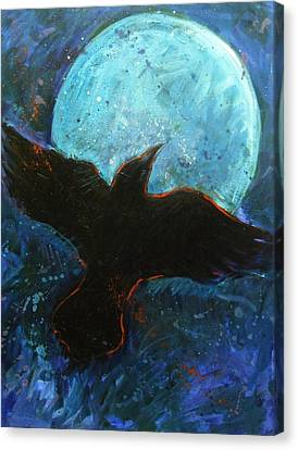 Raven And Blue Moon Canvas Print by Carol Suzanne Niebuhr
