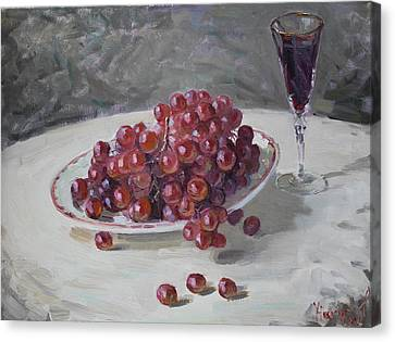 Glass Of Wine Canvas Print - Red Grapes by Ylli Haruni