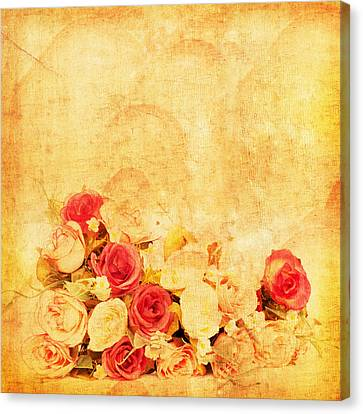 Retro Flower Pattern Canvas Print by Setsiri Silapasuwanchai