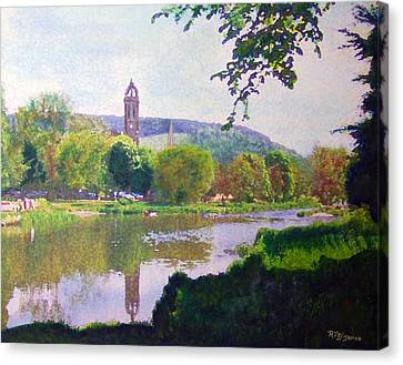 Canvas Print featuring the painting River Walk Reflections Peebles by Richard James Digance