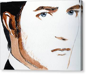 Canvas Print featuring the painting Robert Pattinson 3 by Audrey Pollitt