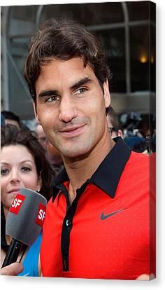 Roger Federer At A Public Appearance Canvas Print