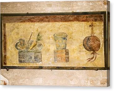 Roman Fresco, Ostia Antica Canvas Print by Sheila Terry