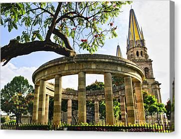 Rotunda Of Illustrious Jalisciences And Guadalajara Cathedral Canvas Print
