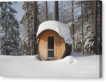 Round Barrel Sauna In The Snow Canvas Print by Jaak Nilson