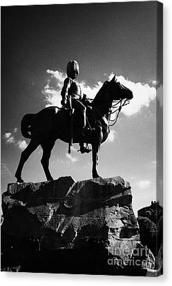 Royal Scots Greys Boer War Monument In Princes Street Gardens Edinburgh Scotland Uk United Kingdom Canvas Print by Joe Fox