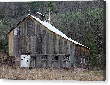 Rustic Weathered Mountainside Cupola Barn Canvas Print by John Stephens