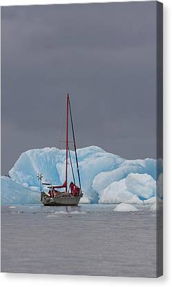 Sail Boat In Laguna San Rafael, Laguna Canvas Print by Peter Langer