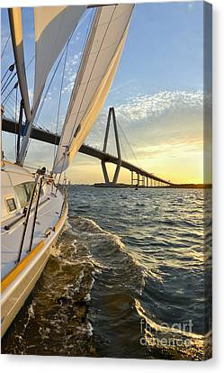 Sailing On The Charleston Harbor During Sunset Canvas Print by Dustin K Ryan