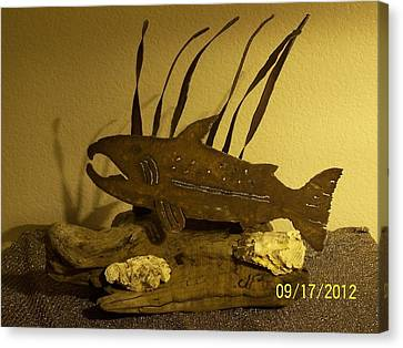 Salmon On Driftwood Canvas Print by JP Giarde