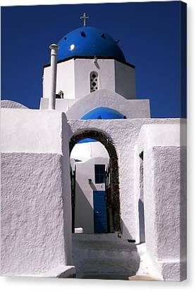 Canvas Print featuring the photograph Santorini Church Greece by Colette V Hera  Guggenheim