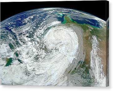 Satellite View Of Hurricane Sandy Canvas Print by Stocktrek Images