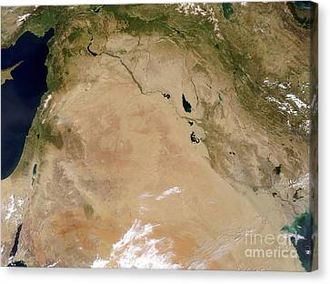 Satellite View Of The Middle East Canvas Print by Stocktrek Images