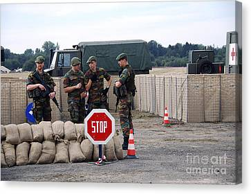 Scenery Of A Checkpoint Used Canvas Print by Luc De Jaeger