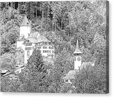Schloss Wimmis And Church Wimmis Switzerland Canvas Print by Joseph Hendrix
