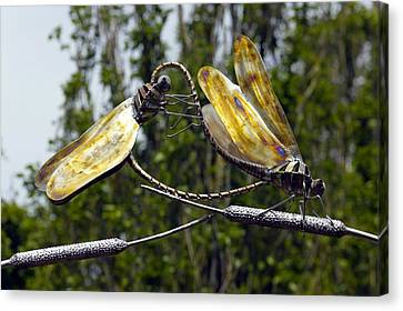 Sculpture Of Two Dragonflies Canvas Print by Dr Keith Wheeler