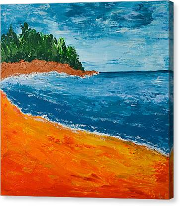 Canvas Print featuring the painting Seascape by Judi Goodwin