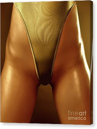 Sexy Covered With Gold Woman In High Cut Swimsuit Canvas Print