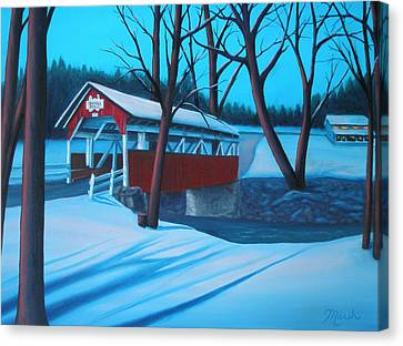 Shaffer's Covered Bridge 1877 Canvas Print by Lora Marsh