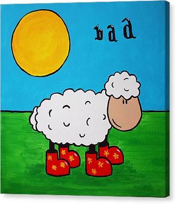 Canvas Print featuring the painting Sheep by Sheep McTavish