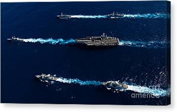 Ships From The John C. Stennis Carrier Canvas Print by Stocktrek Images