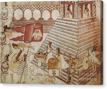 Siege Of Tenochtitlan 1521 Canvas Print by Photo Researchers