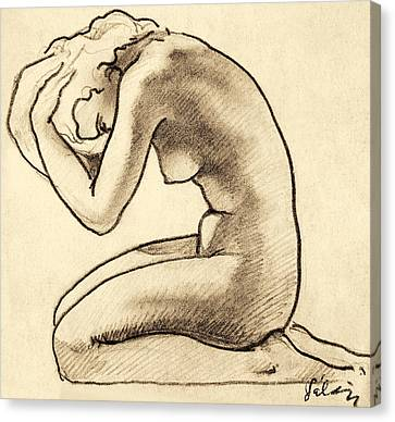 Sitting Woman Charcoal Drawing Canvas Print