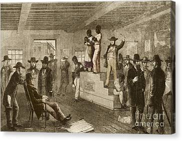 Slave Auction, 1861 Canvas Print by Photo Researchers