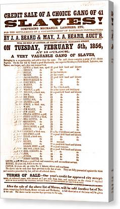 Slave Auction Notice Canvas Print by Photo Researchers, Inc.