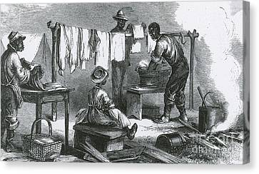Slaves In Union Camp Canvas Print by Photo Researchers