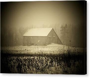 Snow Barn Canvas Print by Michael L Kimble