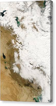 Snow In Iraq Canvas Print by Nasa