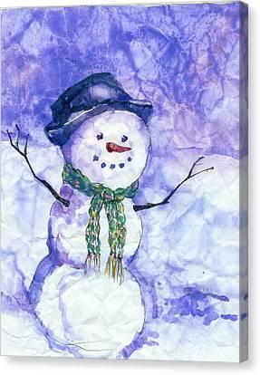 Snowman Canvas Print - Snowman by Peggy Wilson