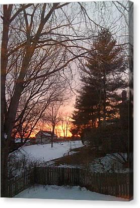 Snowy Winter Sunset Canvas Print