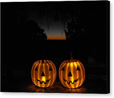 Solar Halloween Pumpkins Canvas Print by Rebecca Cearley